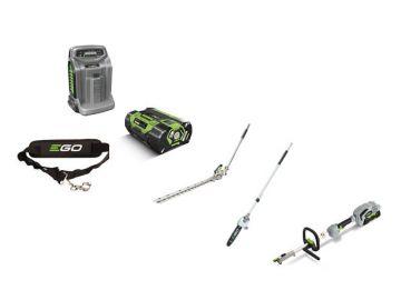 EGO multitool set MHCC1002E incl. basismachine, stokheggenschaar 51 cm, stokkettingzaag 25 cm, schouderriem, 2,5 ah accu en snellader en multitooltas